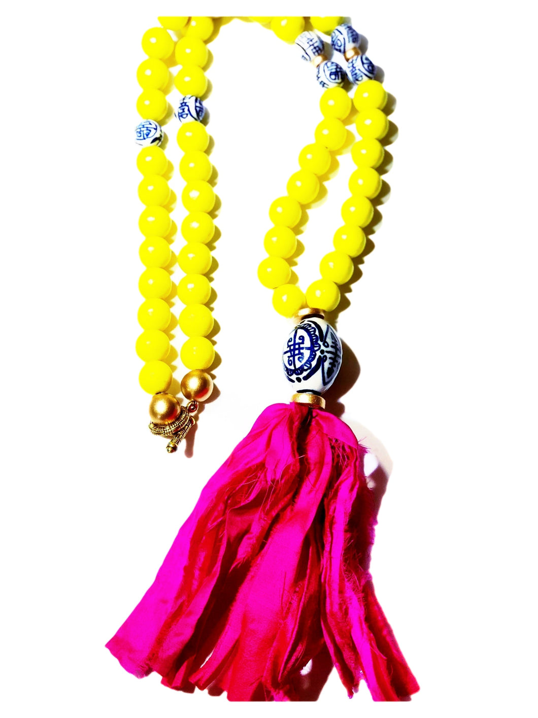 Pink and Chinoiserie Tassel Necklace