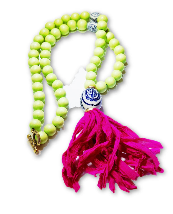 Key Lime Necklace with Tassel