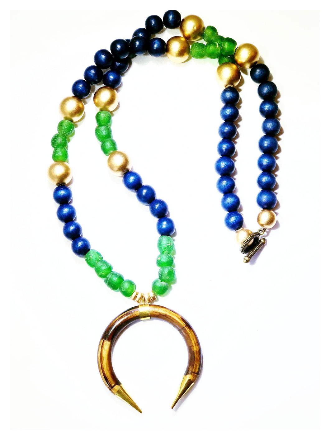 Recycled Glass & Navy with Double Crescent Moon Necklace