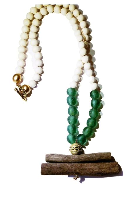Green Glass and Driftwood Necklace