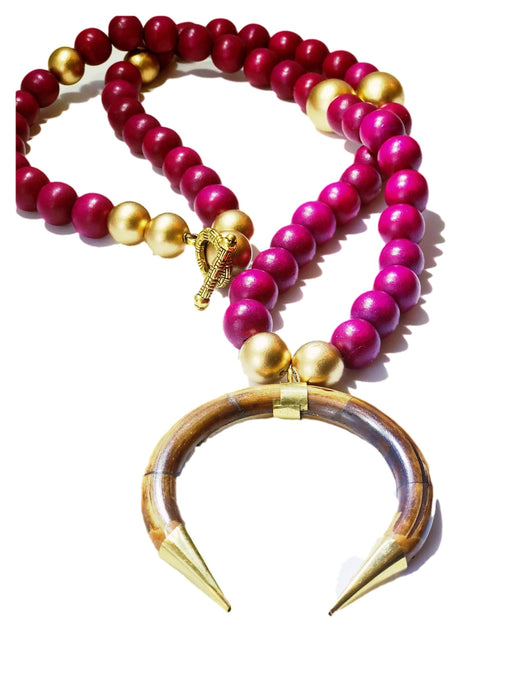 Magenta & Gold Wood Pendant Necklace