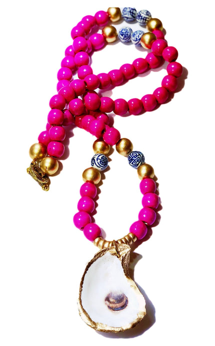 Fuchsia Savannah Oyster Necklace