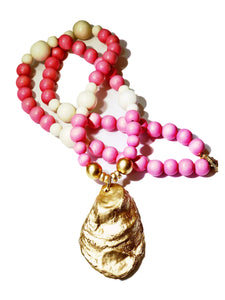 Rose Pink and Gold Oyster Necklace