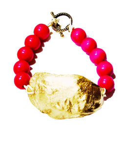 Gold and Pink Oyster Bracelet