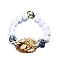 Load image into Gallery viewer, Chinoiserie & Gold Oyster Bangle