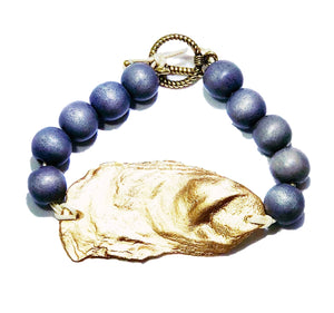 Gray and Gold oyster bracelet