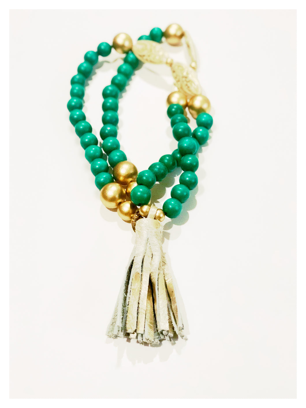 Teal Tassel Necklace