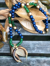 Load image into Gallery viewer, Recycled Glass & Navy with Double Crescent Moon Necklace