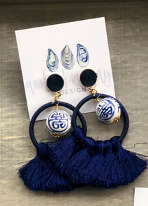 Chinoiserie Navy Tassel Earrings