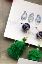 Load image into Gallery viewer, Kelly Green and Chinoiserie Earrings
