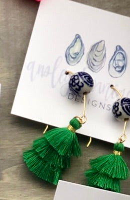Kelly Green and Chinoiserie Earrings