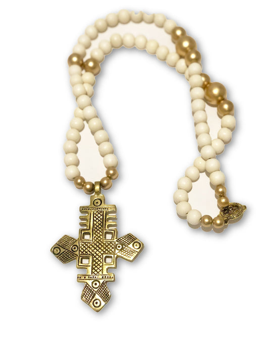 Ivory Coptic Cross Necklace