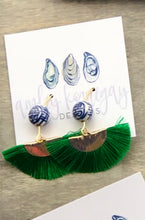 Load image into Gallery viewer, Kelly Green Fan Tassels with Chinoiserie