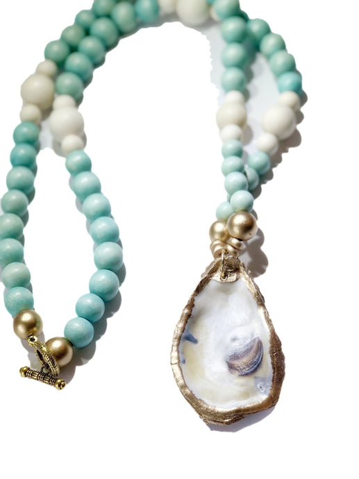 Aqua Beaded Oyster Shell necklace