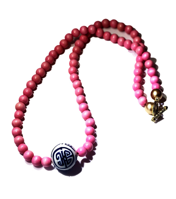 Pink and Chinoiserie  Necklace