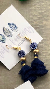 Navy Tassels with Chinoiserie Bead Earrings