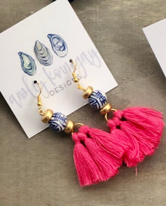 Hot Pink Tassel with Chinoiserie Earrings