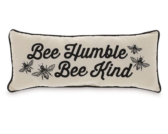Rustic farmhouse 'Bee Humble, Bee Kind' decorative lumbar accent pillow for the home