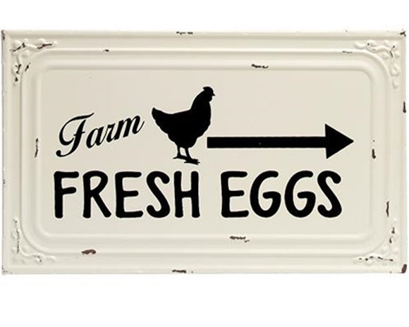 Fixer Upper style farmhouse 'Farm Fresh Eggs' cream and black metal wall sign kitchen decor, JaBella Designs