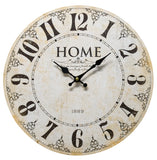 Round ivory and black rustic farmhouse wall hanging clock decor