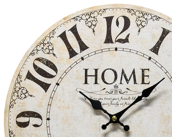 Antique farmhouse vintage style ivory wooden wall clock for the home