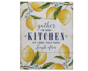 Gather, Lemons, Gather Kitchen Sign, Lemon Kitchen, Lemon, Farmhouse, Lemon Decor, Country, Wall Plaque, Wood, Yellow, Blue, White, Green, Farmhouse, Southern Style, JaBella Designs, Creative Coop