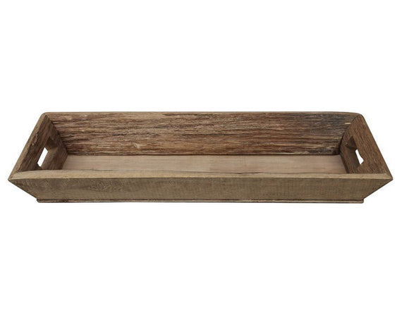 Rustic brown rectangular long wood tray
