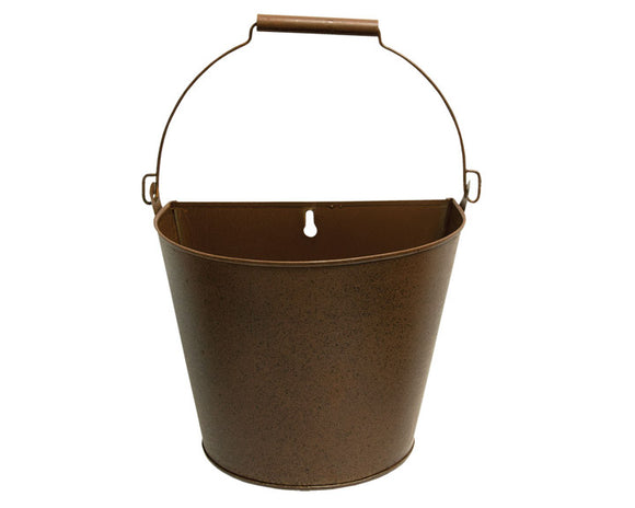Bucket, Planter, Flower Pot, Brown, Wall Container, Wall Bucket, Rustic, Farmhouse, JaBella Designs, The Hearthside Collection