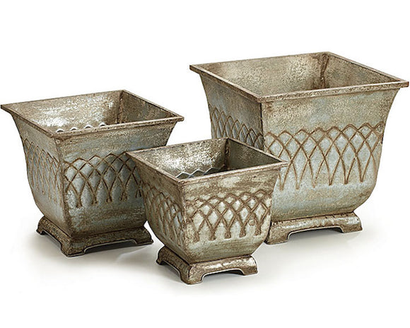 Planters, Plant Containers, Ornate, Galvanized Metal, Silver, Gray, Bronze, Distressed, Aged Finish, Set of Planters, Planter Set, Porch Decor, Farmhouse Chic, Shabby Chic, Traditional, Home Decor, JaBella Designs