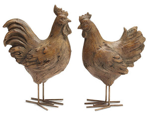 Rustic farmhouse brown country rooster figurine set for the kitchen and home
