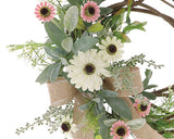 Pink & white daisy decorative grapevine wreath