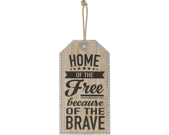 Home of the Free Because of the Brave, Fourth of July, America, Independence Day, Memorial Day, Veterans Day, Military Tag, Patriotic, Farmhouse, JaBella Designs, God Bless America, Galvanized Metal, Rope, Wood