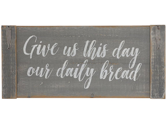 Farmhouse gray 'Give us this Day' distressed wall sign