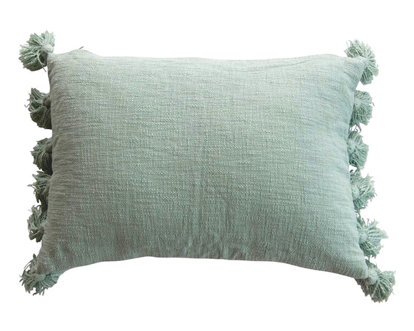 Aqua blue rectangle pillow, Lumbar pillow, Farmhouse robin's egg blue, Long pillow with tassels, Coastal style home decor, Fixer Upper style, Creative Co-op, JaBella Designs