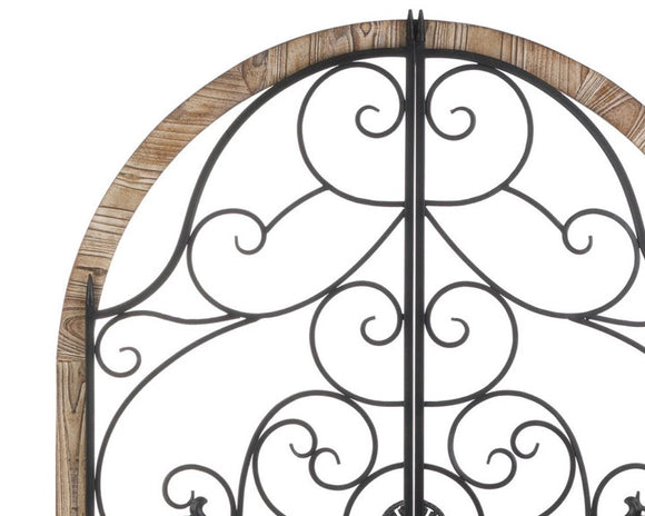 Arched wall hanging, Wood, Wrought iron, Farmhouse cathedral window, Faux window, Brown, Black, Neutral home decor, JaBella Designs