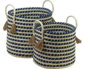Navy blue and tan striped coastal farmhouse kids woven storage basket set for the home