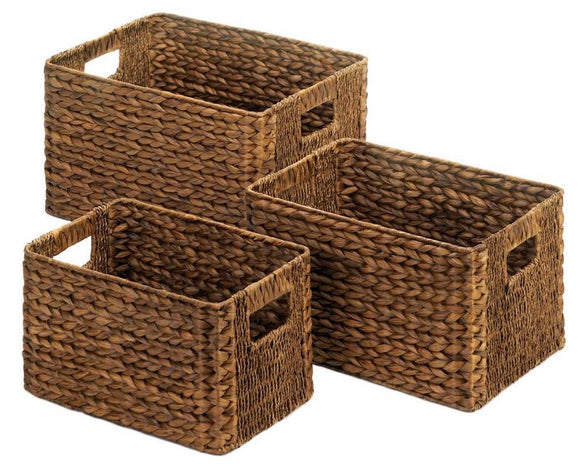 Rustic farmhouse dark brown woven wicker storage baskets for home organization
