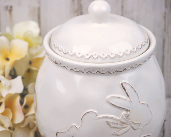 Neutral Easter decor, Cream Easter bunny cookie jar, JaBella Designs