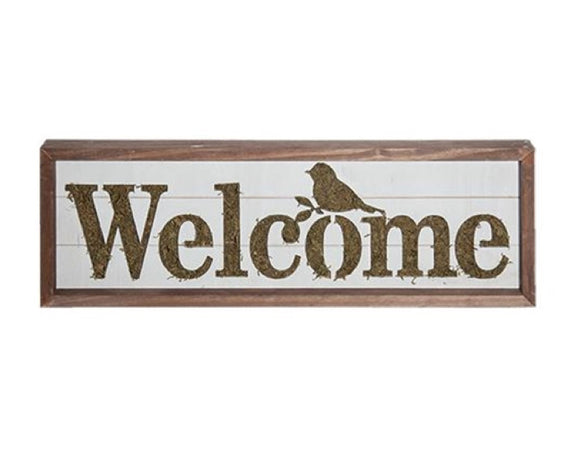 Welcome sign, Green moss, Spring birds, Songbirds, Welcome plaque, Farmhouse welcome sign, Entryway decor, JaBella Designs, Fixer Upper style