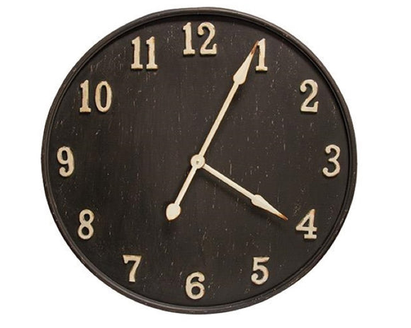 Large black clock, Extra large wall decor, Black and ivory metal clock, Living room clock, Rustic farmhouse decor, Fixer Upper style, JaBella Designs, Decorating, Southern charm