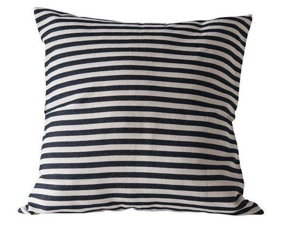 Black striped pillow, Large square cotton pillow, Black farmhouse decor, Modern farmhouse decor, Country living style, JaBella Designs, Murfreesboro
