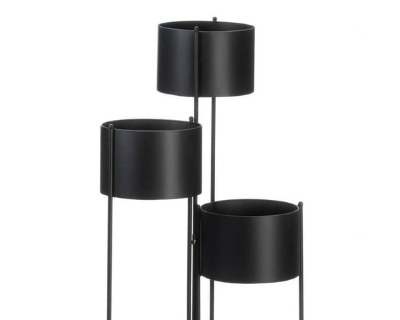 Black plant stand, Urn planters, Round black pots for plants, Patio and porch planters, Fall home decor, Modern farmhouse, JaBella Designs