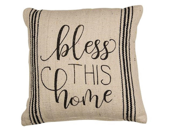 Bless This Home farmhouse pillow, Black stripe accent pillow, Neutral cream country pillows, Home accents, Gift ideas, JaBella Designs, Murfreesboro