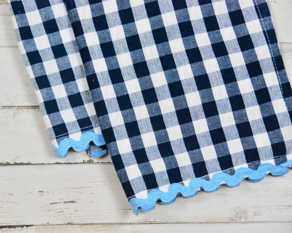 Blue gingham, Kitchen towels, Decorative towels, Navy blue, Americana, Coastal style, Boutique towels, Online boutique, JaBella Designs