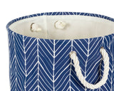 Nautical blue herringbone storage bin, Collapsible laundry basket, Fabric container, Home storage, Storage and organization, JaBella Designs, Murfreesboro