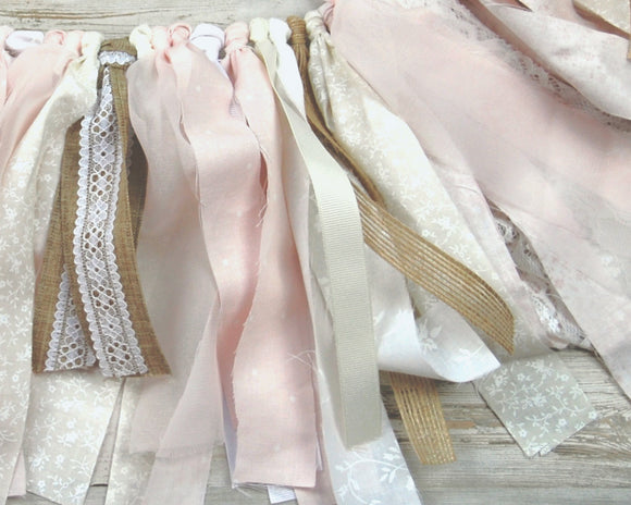 Blush Pink Garland, Shabby Chic Banner, Burlap, White Lace, Fabric Banner, Boho Chic, Party Decorations, Nursery Decor, Wedding Shower Decor, JaBella Designs, Etsy