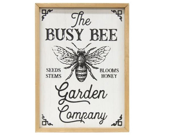 The Busy Bee Garden Company, Garden answer, Patio decorations, Gardening decor, Bees, Bee decor, Black, White, Wood, Neutral, Farmhouse decor, JaBella Designs
