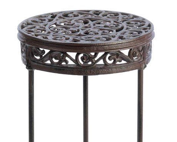 Wrought iron, plant stand, ornate, brown, cottage chic, farmhouse, gardening, patio decor, front porch, entryway, plant decor, farmhouse, JaBella Designs