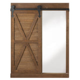 Fixer Upper style brown sliding barn door mirror with chalkboard