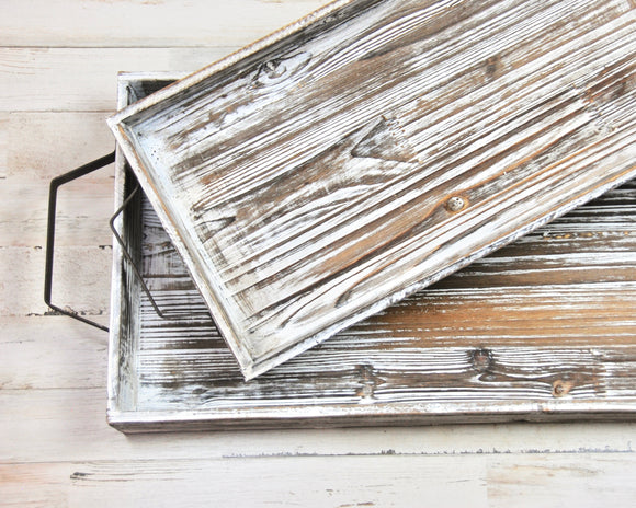 Rustic wood trays, Whitewashed wooden tray set, Farmhouse trays with handles, Coastal living, Southern style, JaBella Designs, Murfreesboro